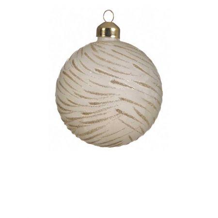 Χριστουγεννιάτικη μπάλα γυάλινη με glitter Μπεζ - Χρυσό 8cm