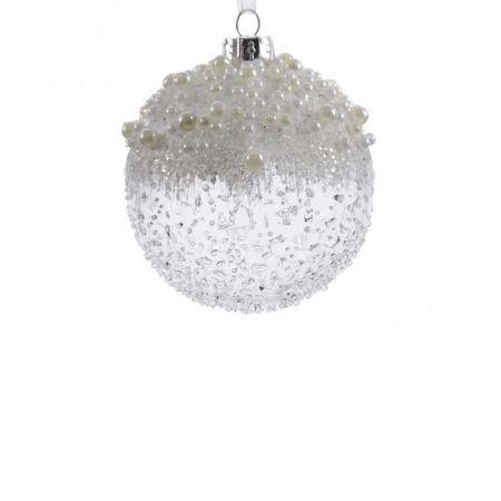 Χριστουγεννιάτικη μπάλα γυάλινη ανάγλυφη Διάφανη με χάντρες και πέρλες 8cm