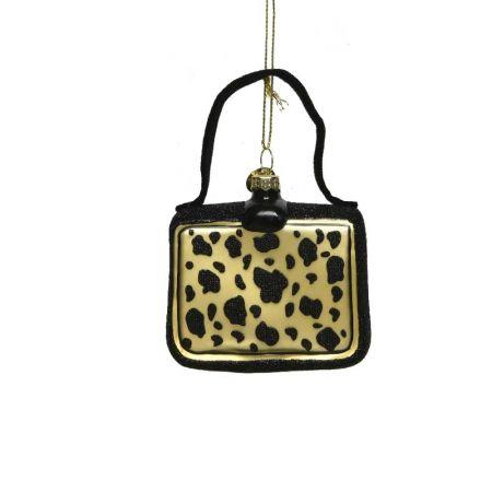 Γυάλινο στολίδι - τσάντα με Animal Print (Σχέδιο 02) 8cm