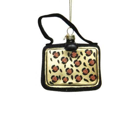 Γυάλινο στολίδι - τσάντα με Animal Print (Σχέδιο 03) 8cm