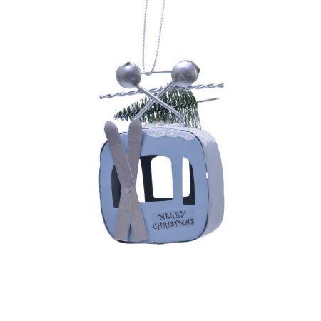 Κρεμαστό στολίδι lift μεταλλικό Γαλάζιο 7x4x9,5cm