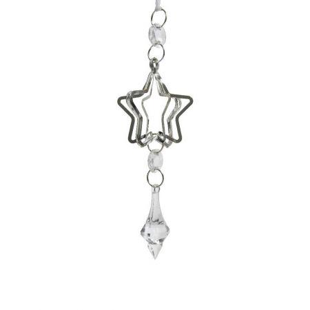 Κρεμαστό στολίδι - Αστέρι μεταλλικό Ασημί 15cm