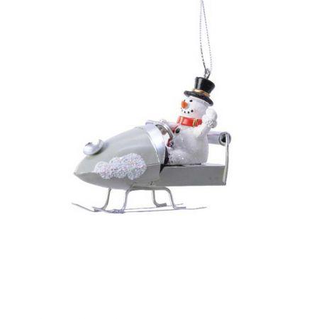 Κρεμαστό στολίδι Χιονάνθρωπος σε έλκηθρο 8x4x7cm