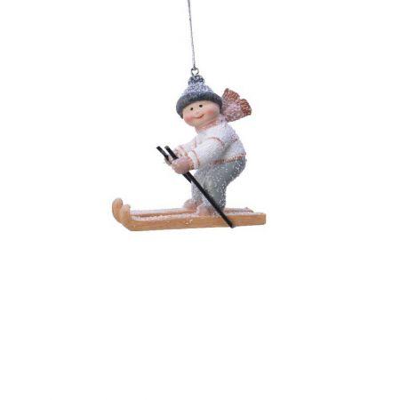 Κρεμαστό στολίδι - Αγόρι με σκι 8x9x4cm