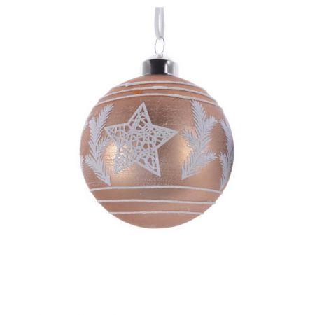 Χριστουγεννιάτικη μπάλα γυάλινη με αστέρι και φύλλα Χάλκινο - Λευκό 8cm