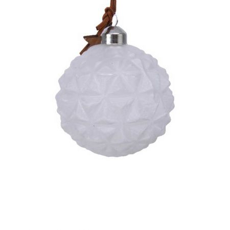 Χριστουγεννιάτικη μπάλα γυάλινη ανάγλυφη Λευκή με ξύλινο αστέρι 8cm