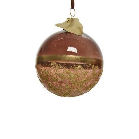 Χριστουγεννιάτικη μπάλα γυάλινη Σκούρο καφέ - Χρυσή 8cm