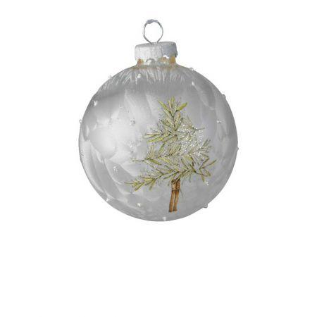 Χριστουγεννιάτικη μπάλα γυάλινη Λευκή παγωμένη με δεντράκι 8cm