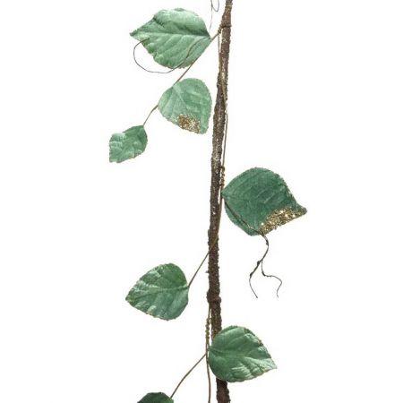 Γιρλάντα λυγαριά με βελούδινα φύλλα και glitter 140cm