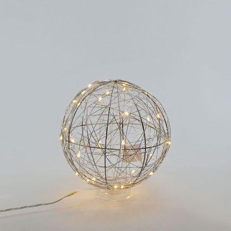 Διακοσμητική φωτιζόμενη συρμάτινη μπάλα μπαταρίας 30LED, 18cm