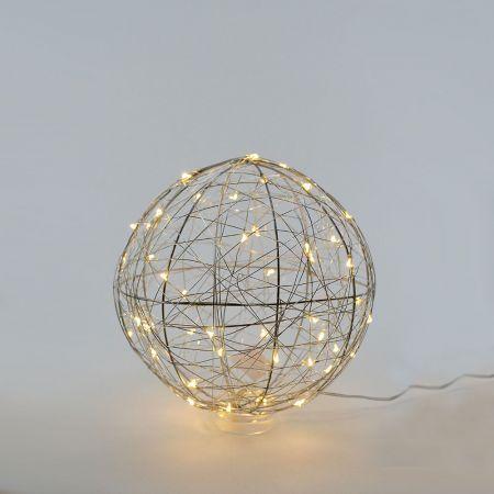 Διακοσμητική φωτιζόμενη συρμάτινη μπάλα μπαταρίας 50LED, 23cm