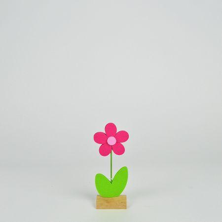 Μαργαρίτα από τσόχα σε ξύλινη βάση Φούξια - Πράσινη 9x5x23,5cm