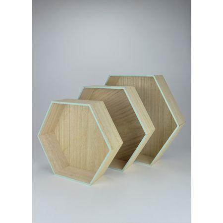 Σετ 3τχ Διακοσμητικά σταντ - ράφια σε σχήμα κυψέλης - εξάγωνα 36cm, 42cm, 48cm