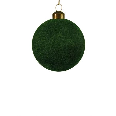 Χριστουγεννιάτικη μπάλα βελούδινη Πράσινη 8cm
