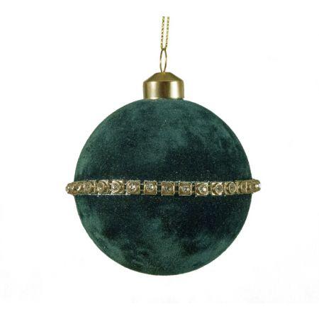 Χριστουγεννιάτικη μπάλα βελούδινη Πετρόλ 8cm