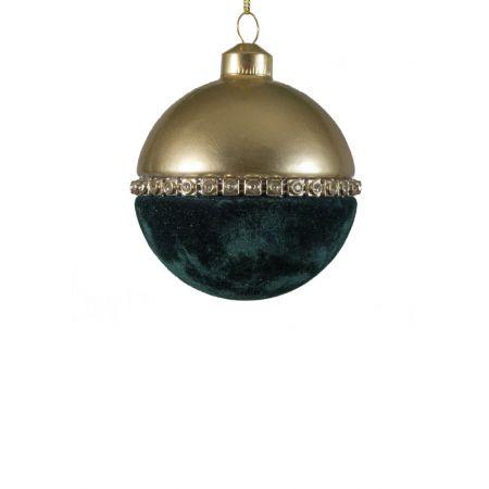 Χριστουγεννιάτικη μπάλα βελούδινη Πετρόλ-Χρυσή 8cm