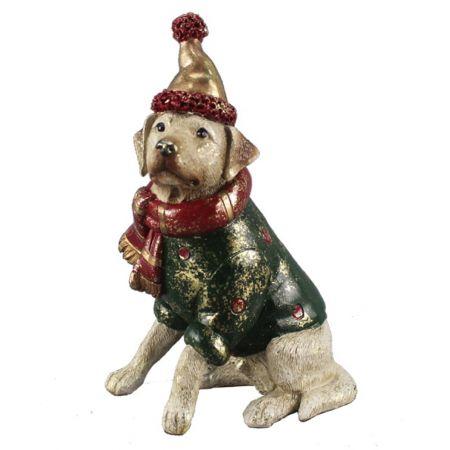 Διακοσμητικός σκύλος με σκούφο 10x7x16cm