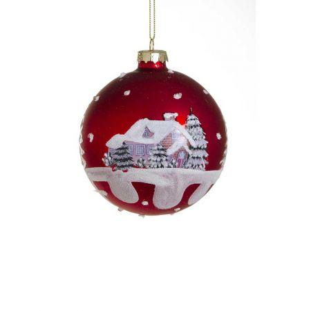 Χριστουγεννιάτικη μπάλα γυάλινη με χιονισμένο τοπίο, 8cm