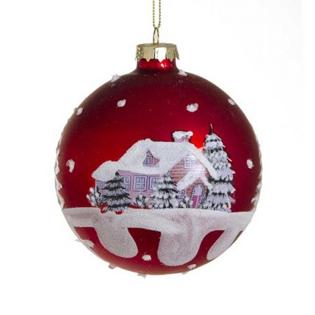 Χριστουγεννιάτικη μπάλα γυάλινη με χιονισμένο τοπίο, 10cm