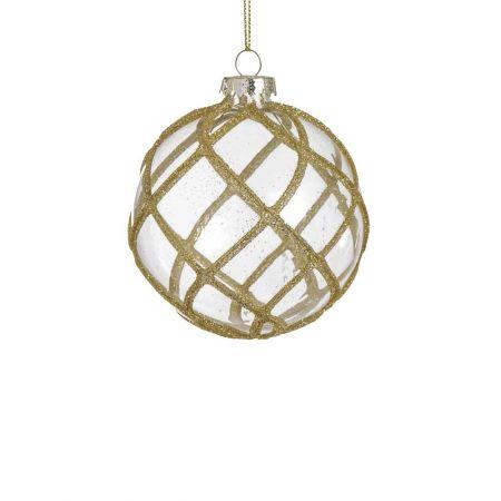 Χριστουγεννιάτικη μπάλα γυάλινη με ρόμβους και glitter διάφανη , 8cm