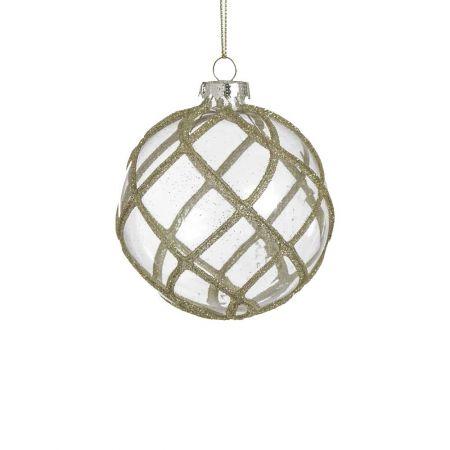 Χριστουγεννιάτικη μπάλα γυάλινη με ρόμβους και σαμπανί glitter διάφανη , 8cm
