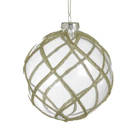 Χριστουγεννιάτικη μπάλα γυάλινη με ρόμβους και σαμπανί glitter διάφανη , 10cm