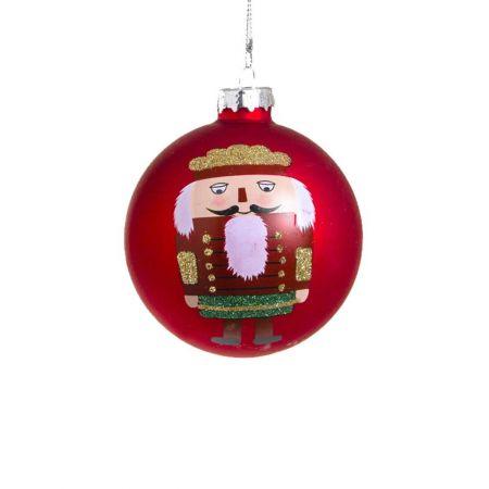 Χριστουγεννιάτικη μπάλα γυάλινη με καρυοθραύστη κόκκινη, 8cm