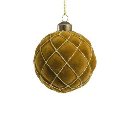 Χριστουγεννιάτικη μπάλα βελούδινη με ρόμβους μουσταρδί/χρυσό , 8cm