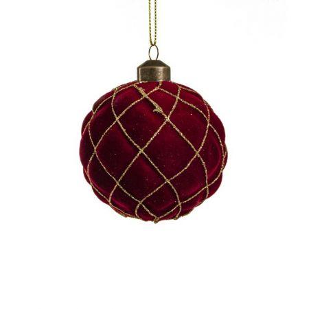 Χριστουγεννιάτικη μπάλα βελούδινη με ρόμβους μπορτνό/χρυσό , 8cm