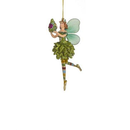 Διακοσμητικό στολίδι νεράιδα πράσινο με πράσινα φτερά, 12cm