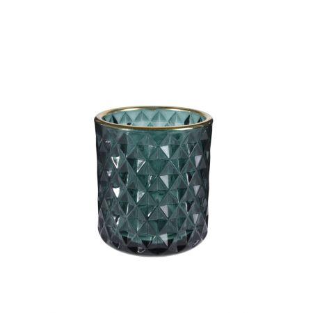 Γυάλινο κηροπήγιο - ποτήρι με ανάγλυφο σχέδιο Μπλε 8x9cm