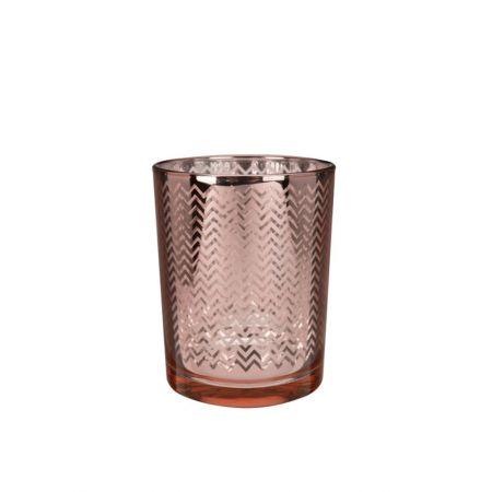 Γυάλινο κηροπήγιο - ποτήρι με ανάγλυφο σχέδιο Χάλκινο 7x8cm