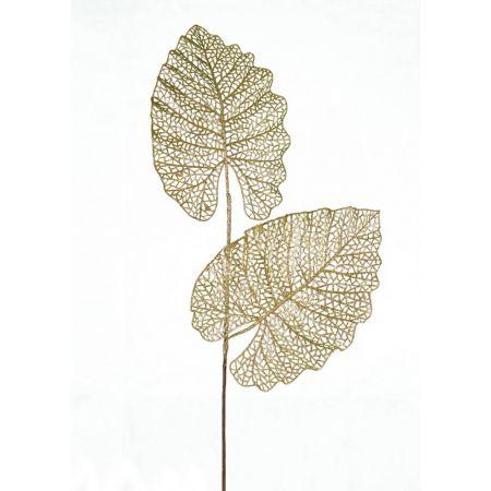Χριστουγεννιάτικο κλαδί - φυλλόδεντρο με glitter Χρυσό 75cm
