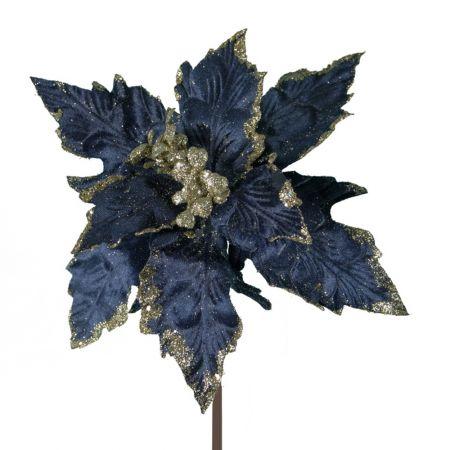 Αλεξανδρινό βελούδινο άνθος Μπλε - Χρυσό 25cm