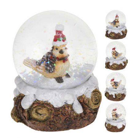 Χιονόμπαλα - Waterball με χριστουγεννιάτικο πουλάκι 6.5x6.5x9cm (2)