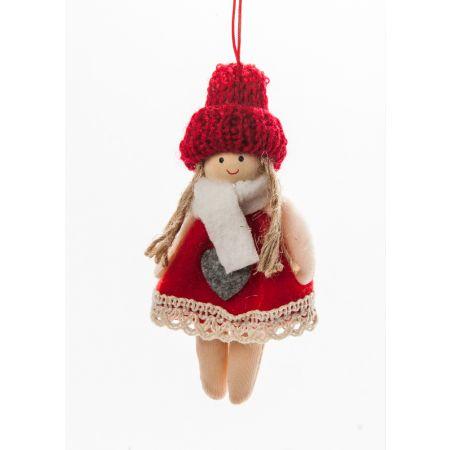 Χριστουγεννιάτικο λούτρινο κοριτσάκι 10cm