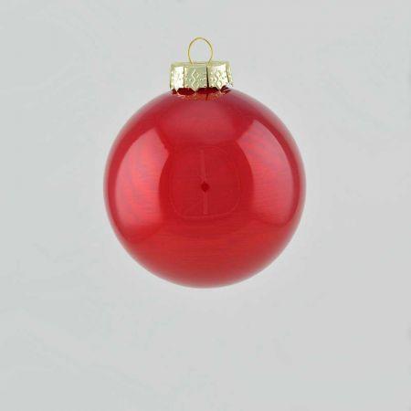 Χριστουγεννιάτικη μπάλα γυάλινη Κόκκινο σκούρο γυαλιστερό 8cm