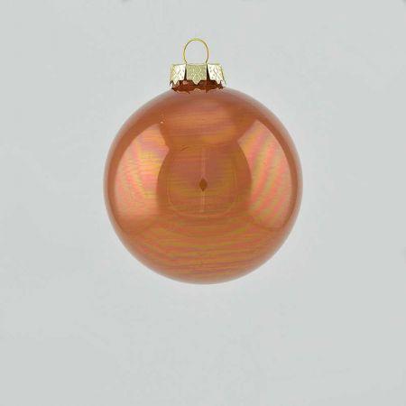 Χριστουγεννιάτικη μπάλα γυάλινη Σοκολά γυαλιστερή 8cm