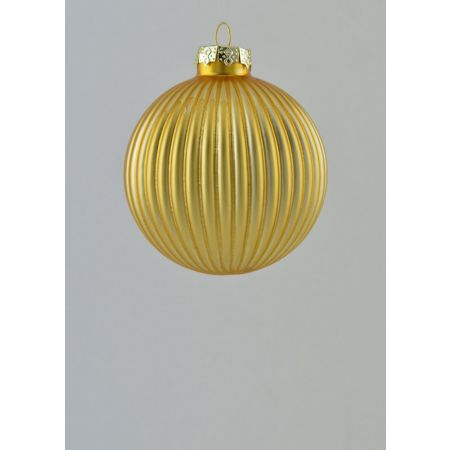 Χριστουγεννιάτικη μπάλα γυάλινη πλισέ Χρυσή 8cm