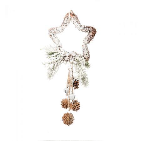 Κρεμαστό στολίδι αστέρι χιονισμένο με πευκοβελόνες και κουκουνάρια 46cm