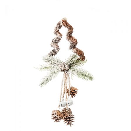Κρεμαστό στολίδι δεντράκι χιονισμένο με πευκοβελόνες και κουκουνάρια 43cm