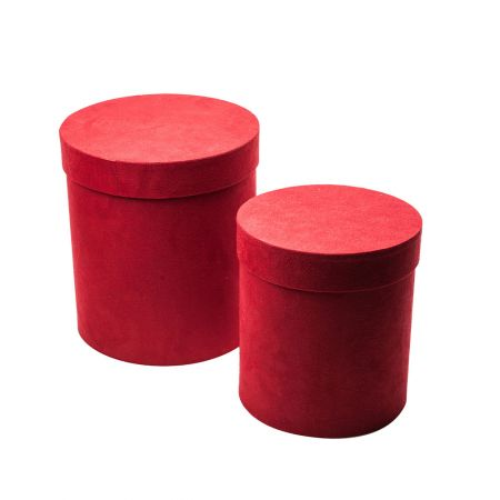 Σετ 2τχ βελούδινα κουτιά δώρου κυλινδρικά Κόκκινα, 24x28cm / 21x23cm