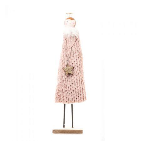 Ξύλινο αγγελάκι με γούνινο φόρεμα Ροζ 42cm