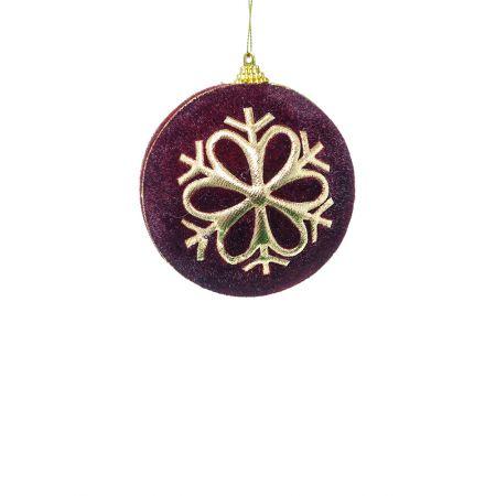 Χριστουγεννιάτικη μπάλα βελούδινη με νιφάδα Μπορντό 8cm