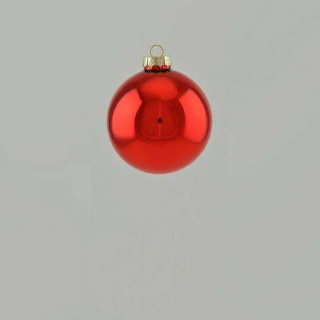 Χριστουγεννιάτικη μπάλα γυάλινη Κόκκινη γυαλιστερή 6cm