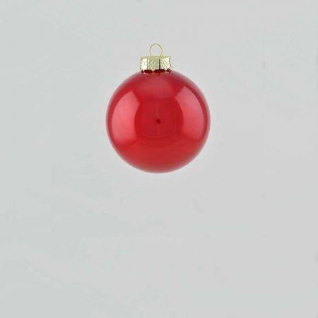Χριστουγεννιάτικη μπάλα γυάλινη Κόκκινο σκούρο γυαλιστερό 6cm