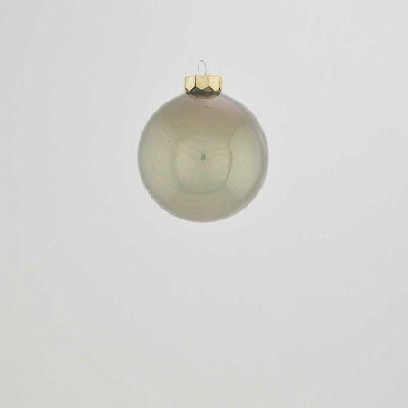 Χριστουγεννιάτικη μπάλα γυάλινη Γκρι γυαλιστερό 6cm