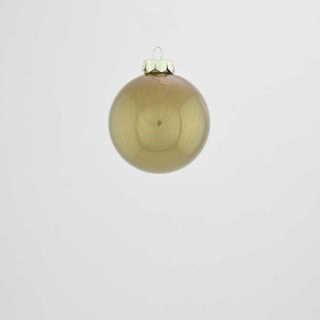 Χριστουγεννιάτικη μπάλα γυάλινη Λαδί γυαλιστερό 6cm