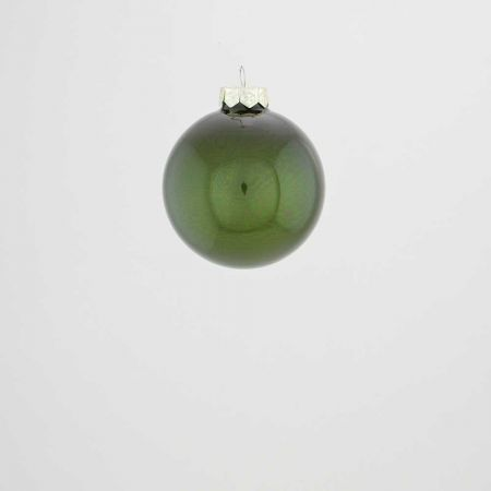 Χριστουγεννιάτικη μπάλα γυάλινη Κυπαρισσί γυαλιστερό 6cm
