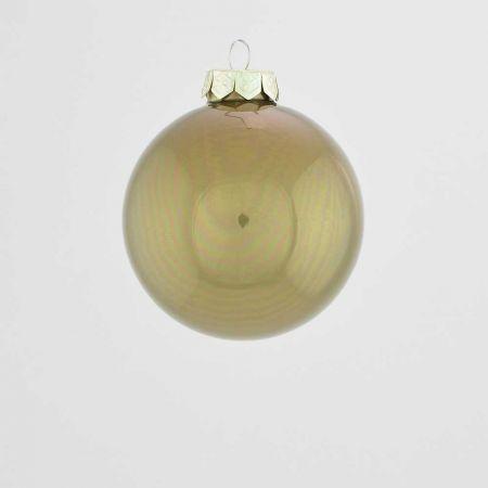 Χριστουγεννιάτικη μπάλα γυάλινη Λαδί γυαλιστερή 8cm